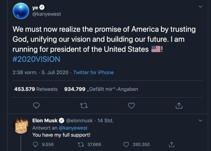 Kanye West kandidiert über Twitter in der US-Präsidentschaftswahl