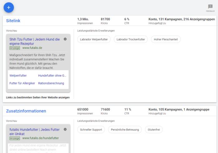 Screenshot der neuen Ansicht der Anzeigenerweiterungen im Google Ads Interface