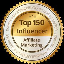 Plakette für Top 150 Affiliate Marketing Influencer