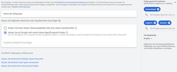 Screenshot der Anpassungen der benutzerdefinierten Zielgruppen bei Google Ads