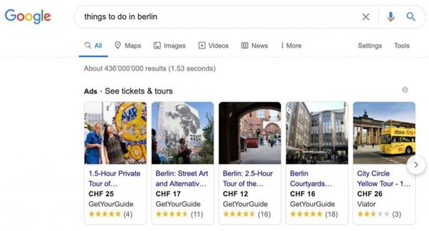 """Screenshot von Googles neuen """"things to do"""" Ads"""