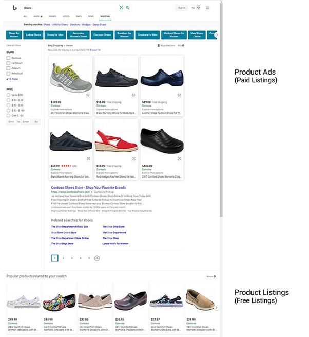 Screenshot der neuen kostenlosen organischen Listings im Shopping Tab von Bing Shopping