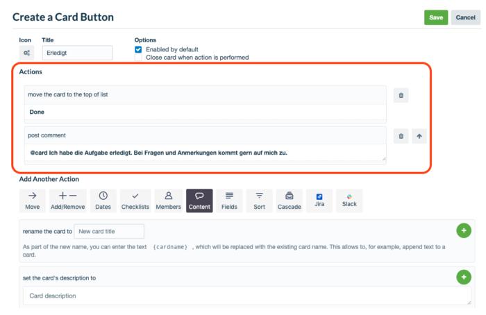 Screenshot des Card-Button Befehls bei der Erledigung einer Aufgabe