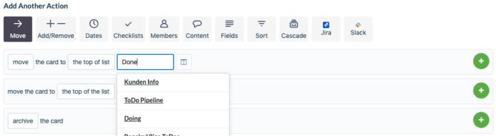 """Screenshot, wie man eine Karte auf die """"Done"""" Liste verschiebt"""