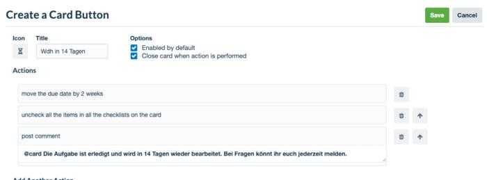 Screenshot des Butlerbot Card Buttons für wiederkehrende Aufgaben