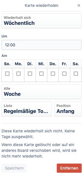 Screenshot des Card-Repeater als Power-Up für wiederkehrende Aufgaben