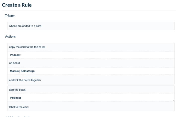 """Screenshot eines Beispiels zur """"Cascade"""" Funktion mit einem eigenen Organisationsboard"""