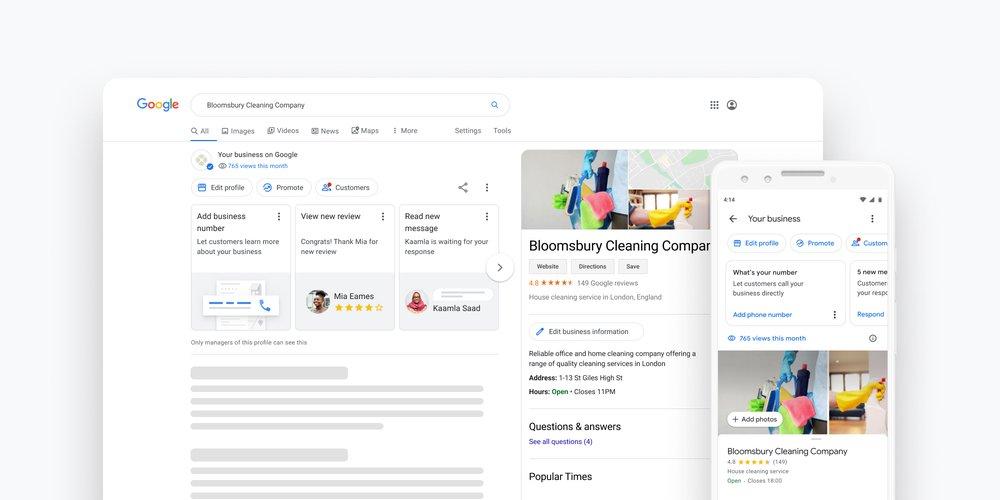 Screenshot der Funktion den Google Business Manager direkt zu bearbeiten