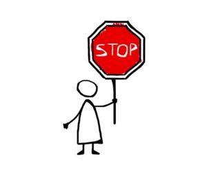Bild eines Strichmännchens mit Stopp-Schild