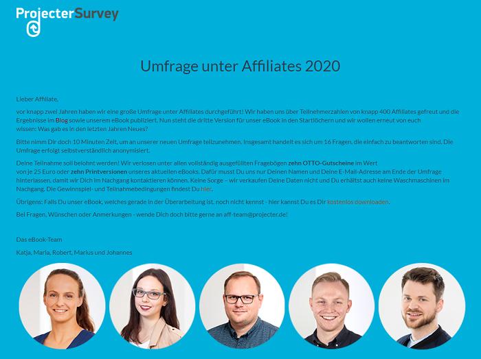 Projecter Umfrage unter Affiliates 2020