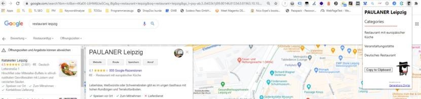 """Screenshot für den Einsatz der Chrome Extension GMBspy für den Suchbegriff """"restaurant leipzig"""""""