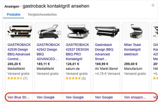 Abbildung 1: Shopping-Snippet auf SERP für Gastroback mit Kennzeichnung der CSS-PartnerInnen