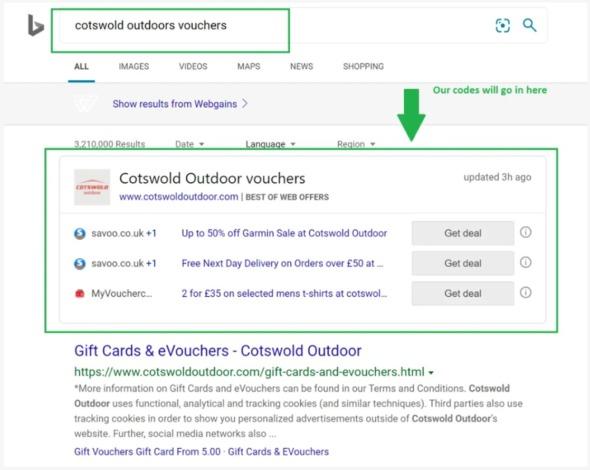 Screenshot Zusammenarbeit von Webgains und Microsoft
