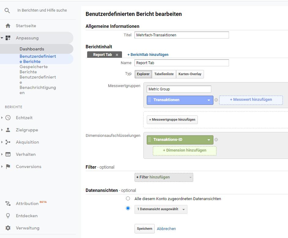 Screenshot wie in Google Analytics benutzerdefinierte Berichte erstellt werden können