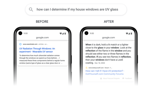 Screenshot der Google Suchergebnisse vor und nach dem Update