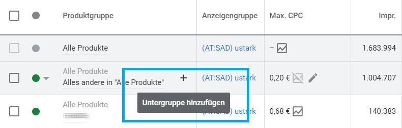 Screenshot Produktuntergruppen