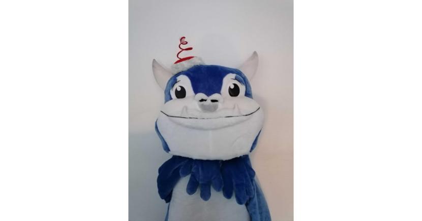 Bild des Projecter Maskottchens PJ mit Weihnachtsmütze