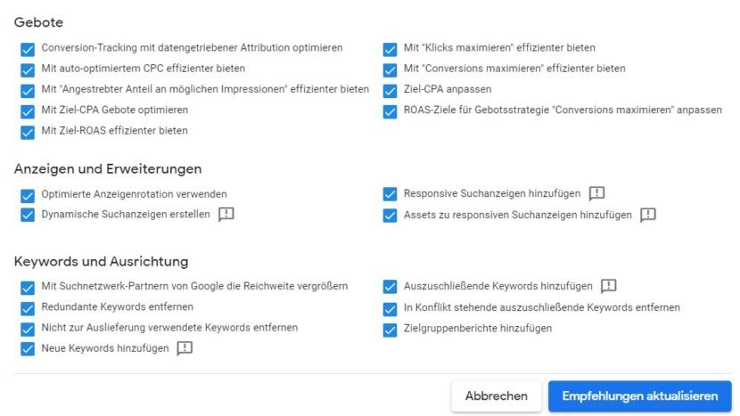 Screenshot AAR Control Center Einstellung, welche Empfehlungen im Google-Ads-Konto automatisch umgesetzt werden