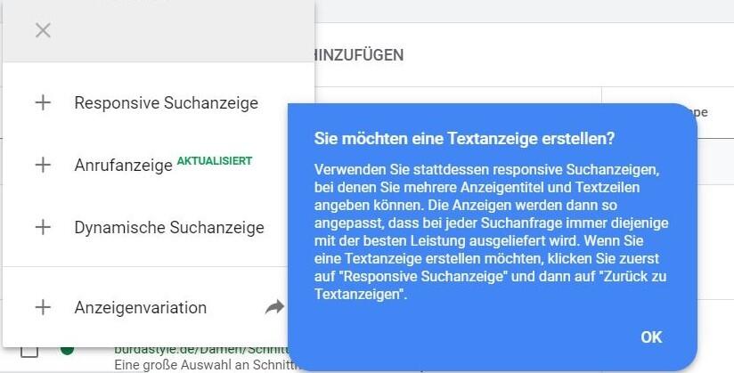 Screenshot versteckte ETAs in Google Ads