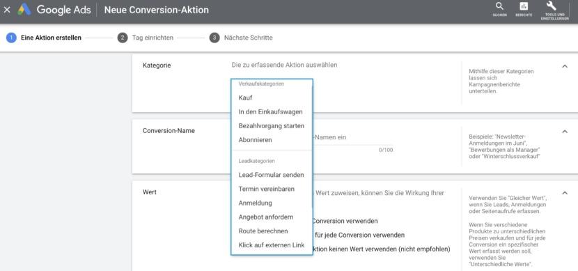 Screenshot In Google Ads können für verschiedenen Phasen der Customer Journey nun unterschiedliche Micro-Conversions definiert werden.