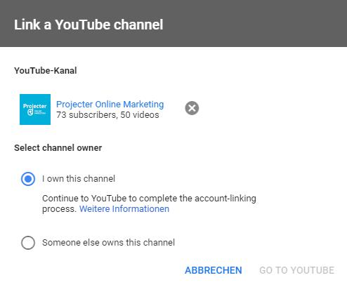 Screenshot, wie man einen YouTube-Kanal als Besitzer verlinkt