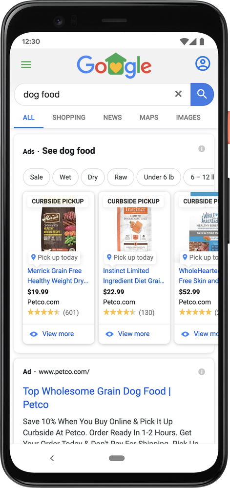 GIF Seit Mai können kontaktlose Abholoptionen in den Local Inventory Ads hervorgehoben werden