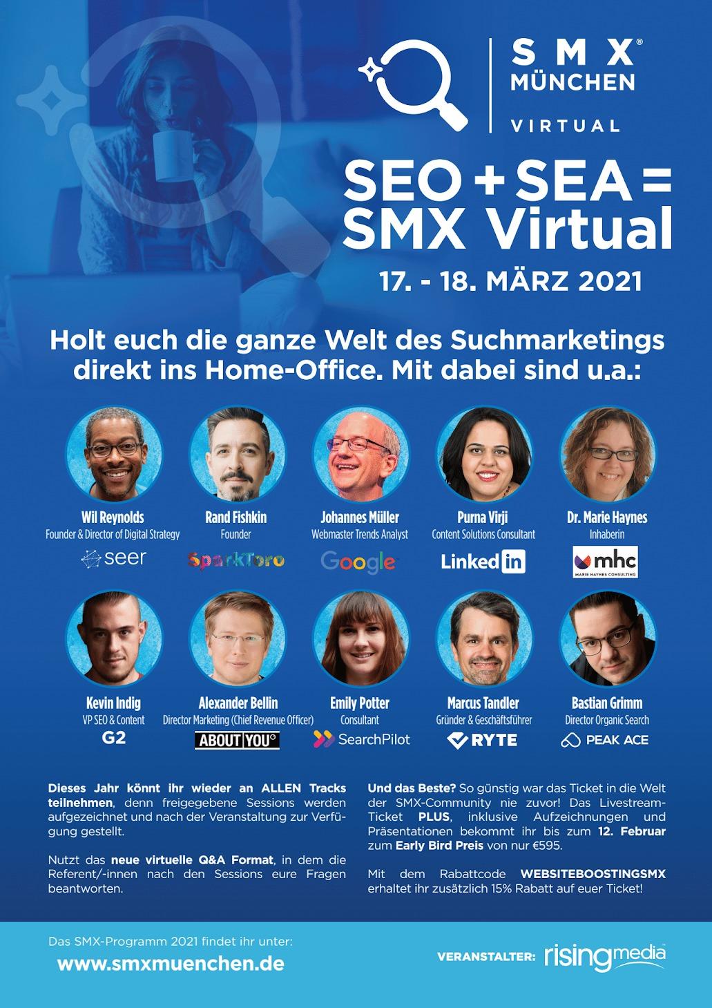 Grafik zur SMX München Virtual mit den wichtigsten Speakern