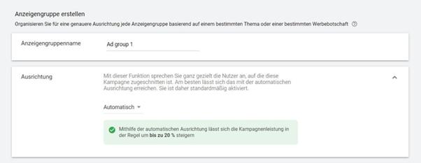 Screenshot Automatisierung der Ausrichtung von Display-Kampagnen