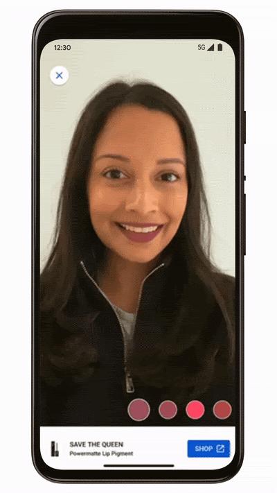 Screenshot Kosmetikprodukte am Smartphone ausprobieren