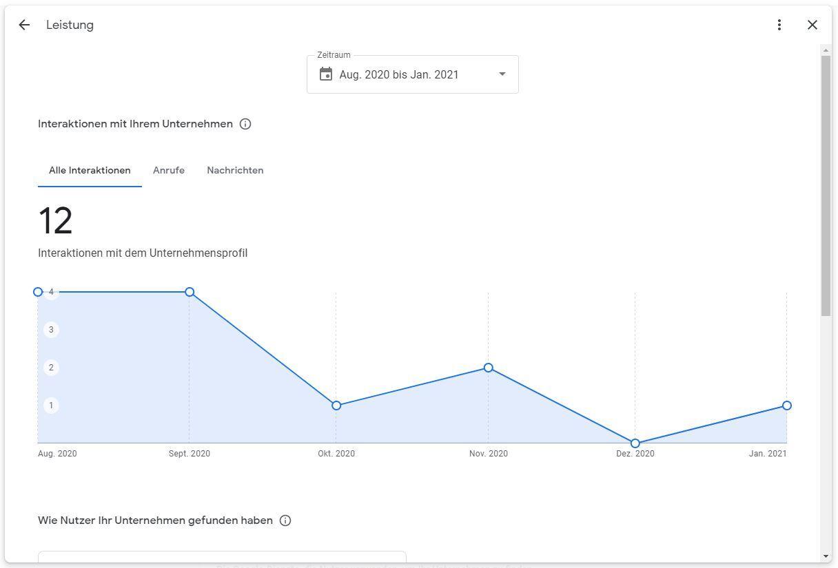 Screenshot aus dem neuen Leistungsbericht im Google My Business