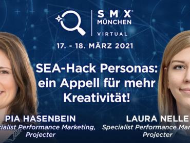 """Grafik der SMX München zum Vortragsthema """"SEA-Hack Personas: ein Appell für mehr Kreativität!"""" Abgebildet sind Pia Hasenbein und Laura Nelle von der Projecter GmbH"""