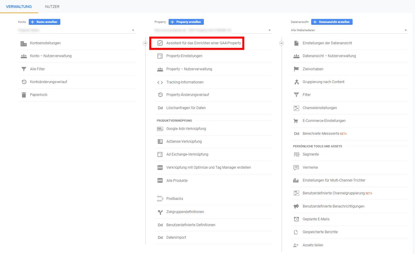 Verwaltungsansicht im Google Analytics