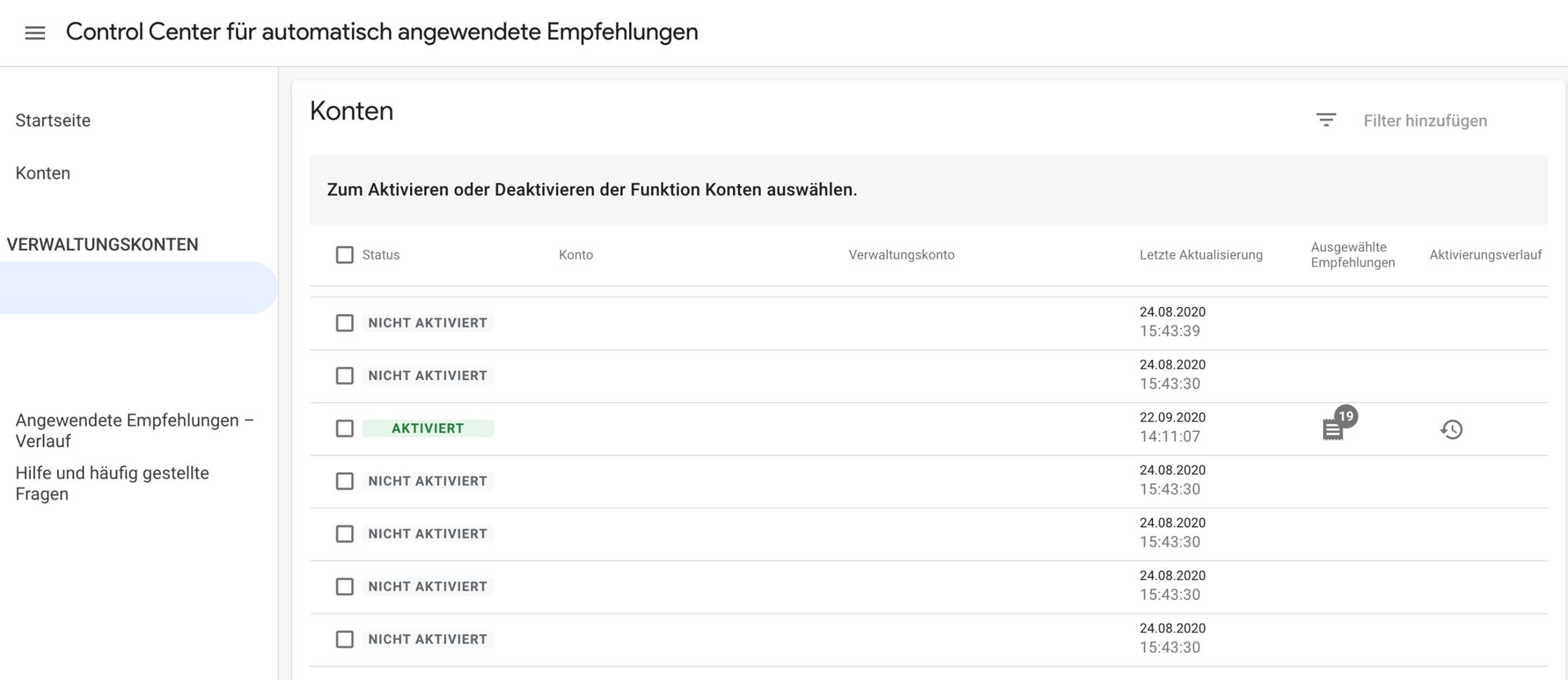 Screenshot Google Ads Control Center für automatisch angewendete Empfehlungen