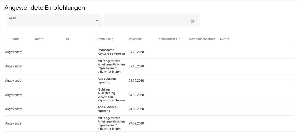 Screenshot Google Ads Überblick angewendete Empfehlungen