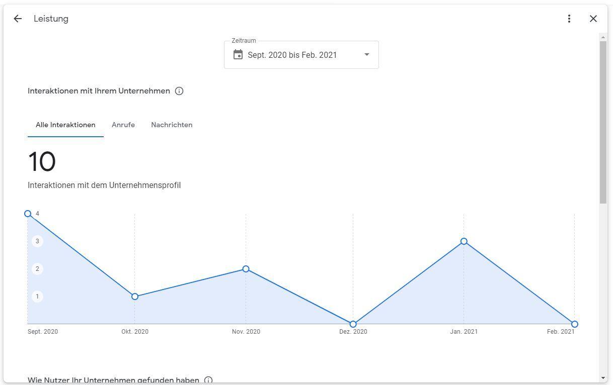 Screenshot aus dem neuen Google My Business Performance-Bericht