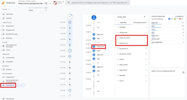 Abb.10 DebugView in Google Analytics 4