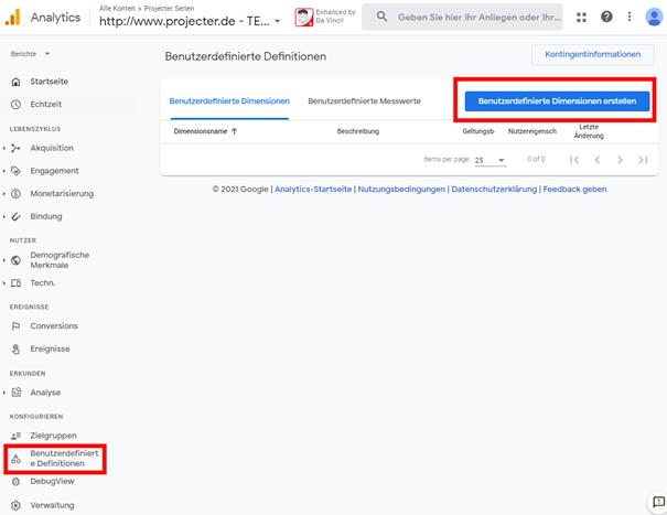 Abb.11 Benutzerdefinierte Dimensionen in Google Analytics 4