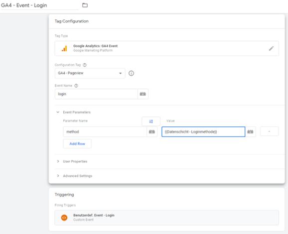 Abb.5 Google Analytivs 4 Ereignis-Tag im Google Tag Manager
