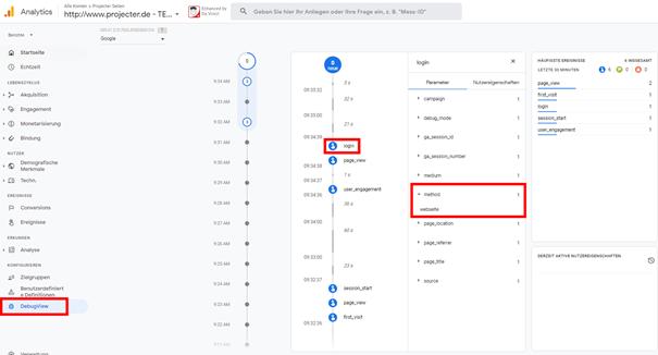 Abb.7 DebugView in Google Analytics 4