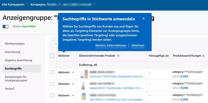 Screenshot Amazon Advertising ermöglicht Umwandlung von Suchbegriffen in (negative) Keywords