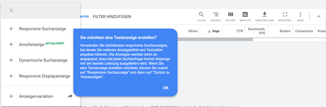 Screenshot Google Ads setzt Responsive Search Ads als Standard-Anzeigentyp