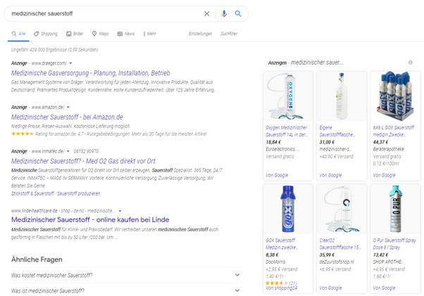 Screenshot Google Ads testet kursive Schrift bei Anzeigen