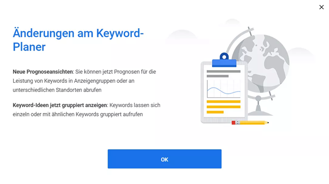 Screenshot Update im Google Ads Keyword-Planer