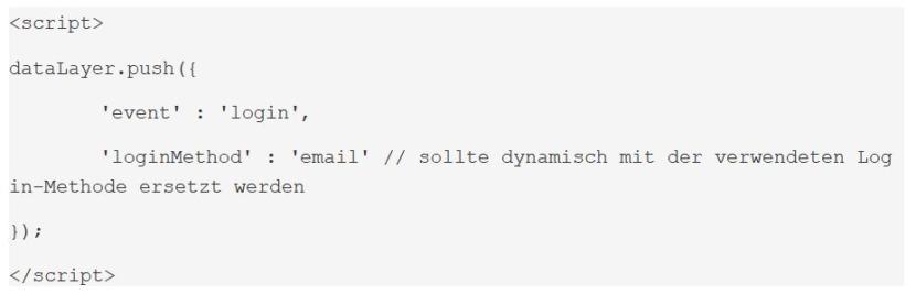 Datenschicht-Code für ein Event