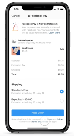 Screenshot Instagram Checkout mit Facebook Pay