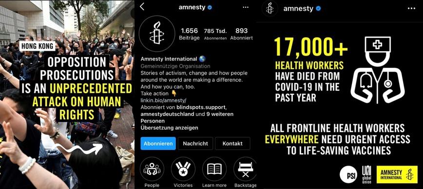 Screenshot Amnesty International Instagram CI