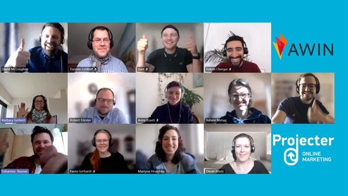 Digitales Gruppenfoto vom Agency Meeting mit Awyn und Projecter