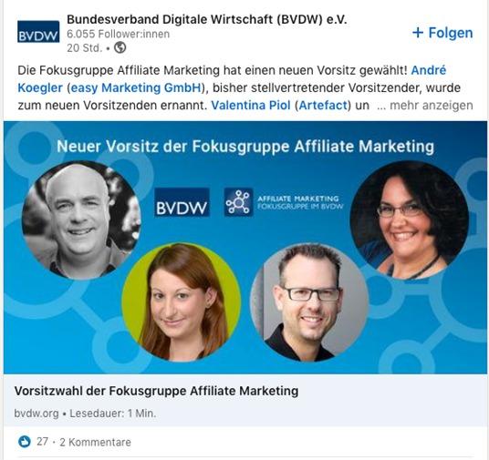 Screenshot LinkedIn Beitrag des BVDW mit neuen Vorsitzenden