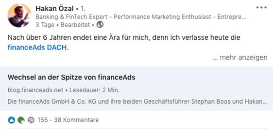 Screenshot LinkedIn Beitrag Hakan Özal zu seinem Ausstieg bei financeAds