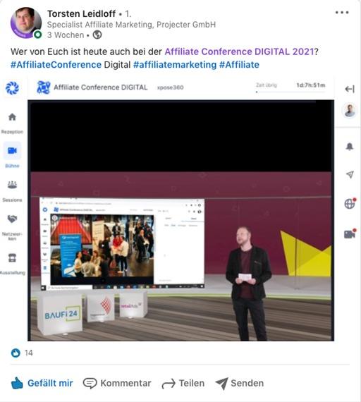 Screenshot LinkedIn Beitrag Torsten zur Affiliate Conference Digital 2021